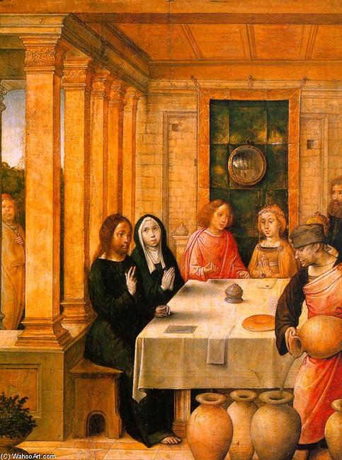 Juan De Flandes >> The Marriage Feast at Cana  |  (, artwork, reproduction, copy, painting).