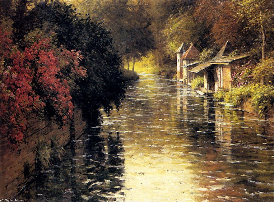 Louis Aston Knight >> A French River Landscape  |  (, artwork, reproduction, copy, painting).