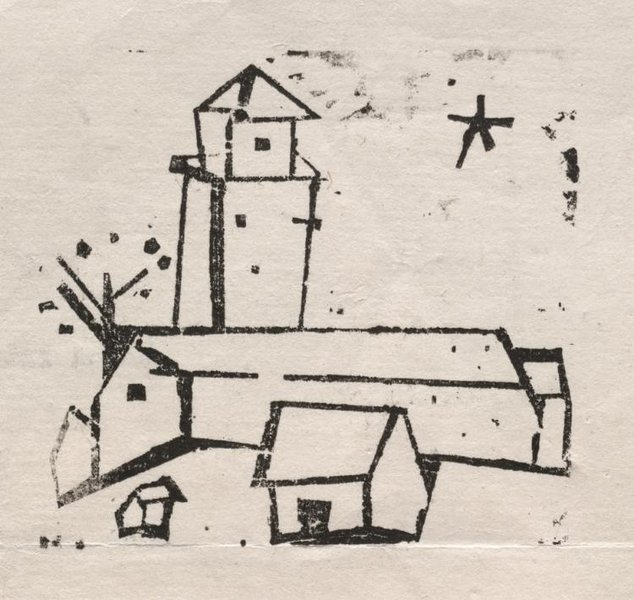 Lyonel Feininger >> Church with Houses, Tree and Star, Deep  |  (, artwork, reproduction, copy, painting).