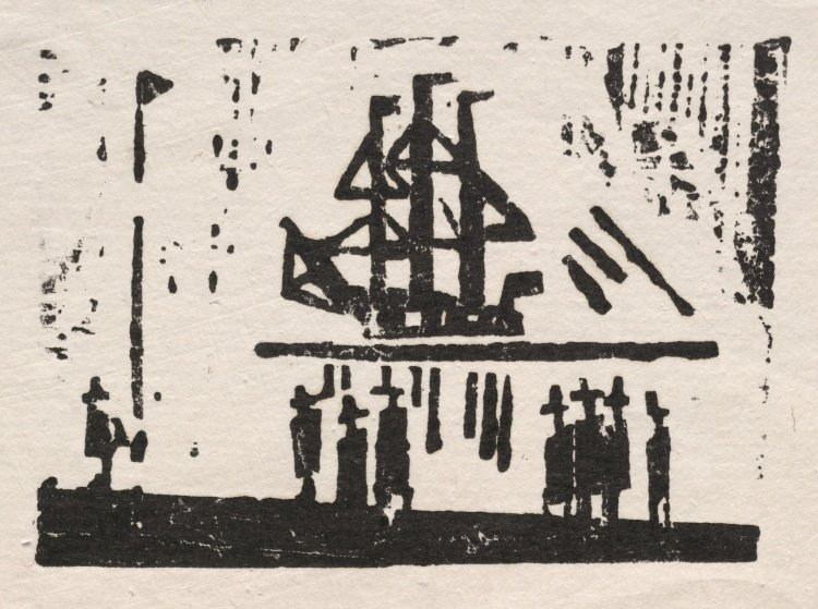 Lyonel Feininger >> Three-Master and Eight Men in a Harbor  |  (, artwork, reproduction, copy, painting).