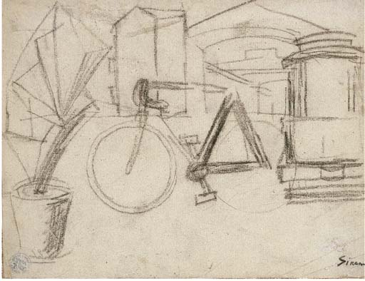 Mario Sironi >> Urban Landscape with bicycle  |  (, artwork, reproduction, copy, painting).