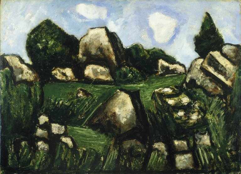 Marsden Hartley >> Green Landscape with Rocks, No. 2  |  (, artwork, reproduction, copy, painting).