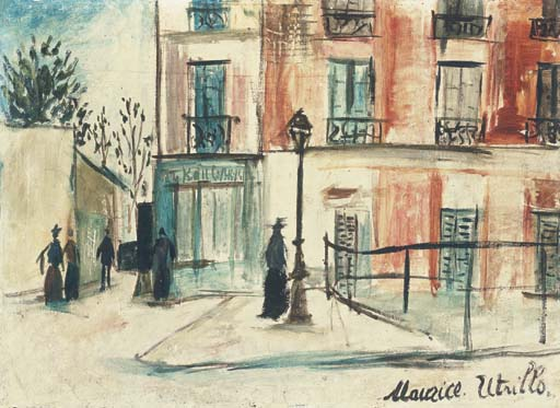 Maurice Utrillo >> La Belle Gabrielle and the Saint-Vincent street at Montmartre  |  (, artwork, reproduction, copy, painting).