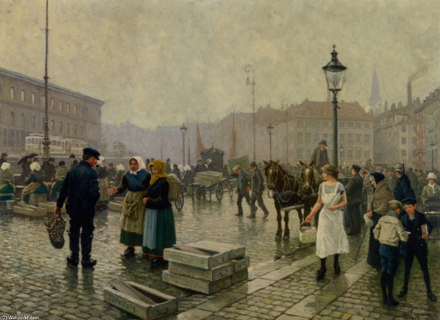 Paul Gustave Fischer >> The Fish Market at Gammelstrand Copenhagen  |  (, artwork, reproduction, copy, painting).