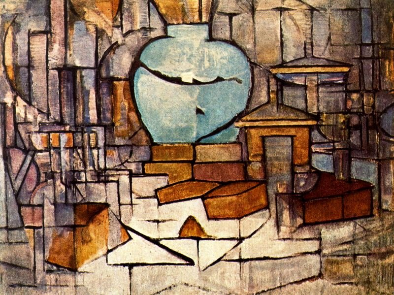 Piet Mondrian >> Still life with vase of spices II  |  (, artwork, reproduction, copy, painting).