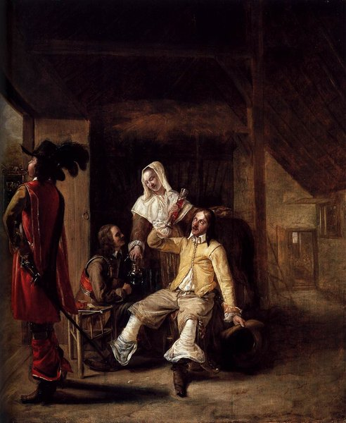 Pieter de Hooch >> Two Soldiers and a Serving Woman with a Trumpeter  |  (, artwork, reproduction, copy, painting).