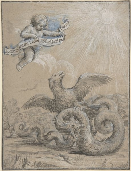 Pietro da Cortona >> Design with an Eagle Fighting with a Serpent and a Putto in the Sky Holding an Inscribed Banner  |  (, artwork, reproduction, copy, painting).