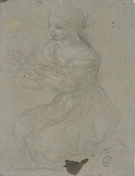 Pietro da Cortona >> Young girl on her knees, to three quarts, turned to the left  |  (, artwork, reproduction, copy, painting).