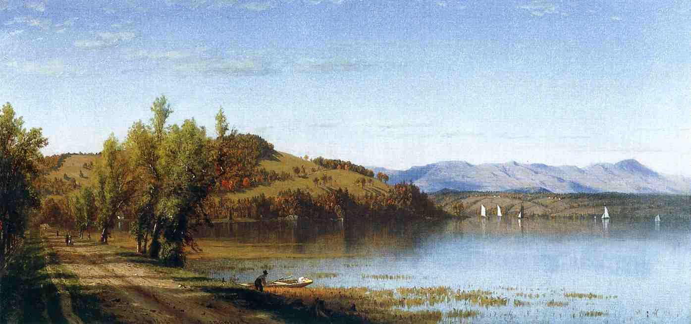 Sanford Robinson Gifford >> South Bay, on the Hudson, near Hudson, New York  |  (, artwork, reproduction, copy, painting).