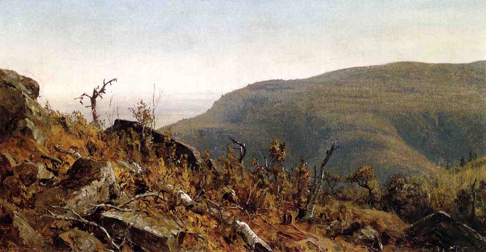 Sanford Robinson Gifford >> The View from South Mountain in the Catskills, A Sketch  |  (, artwork, reproduction, copy, painting).