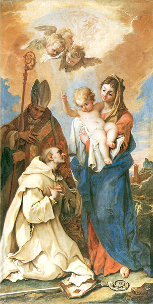 Sebastiano Ricci >> Appearance of Madonna with Child to St Bruno and St Hugo  |  (, artwork, reproduction, copy, painting).