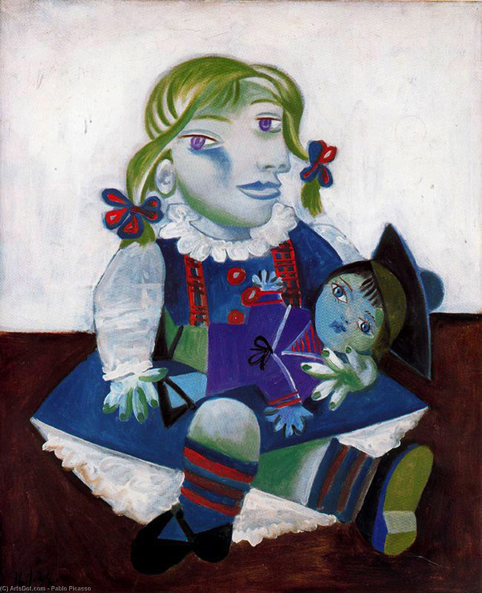 Portrait of Maya with her doll - Pablo Picasso