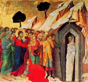 MaestÓ (back, predella), The Raising of Lazarus