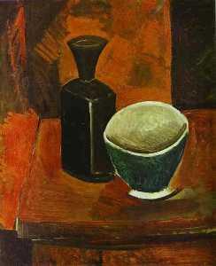 Green Bowl and Black Bottle