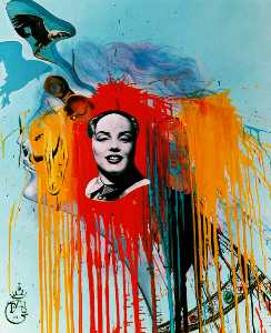 Self-Portrait (Photomontage with the famous 'Mao-Marilyn' that Philippe Halsman created at DalH's wish), 1972