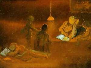 Reading. Family Scene by Lamplight, 1981