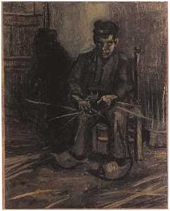 Peasant Making a Basket