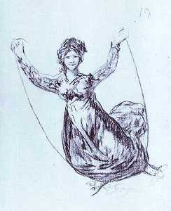 Young Witch Flying with a Rope