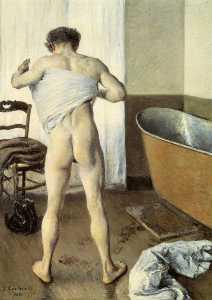 homme à son bain
