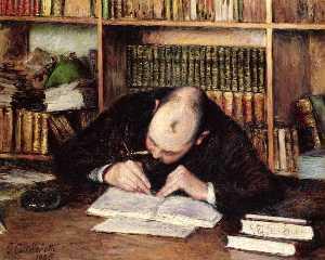 Portrait d un homme écriture  dans  son  étudier