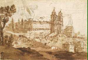 View of the Church of S. Trinita dei Monti, Rome
