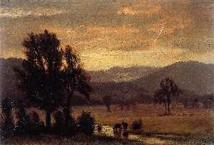 Пейзаж с крупного рогатого скота