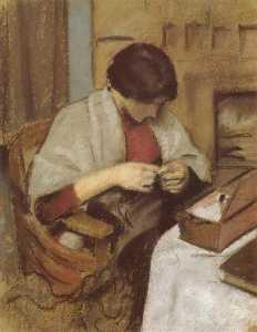 Elisabeth Gerhardt, Sewing (Girl Sewing