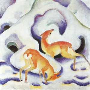 ciervos en el nieve