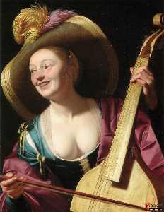 A young woman playing a viola da gamba
