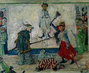 Masks Fighting over a Hanged Man