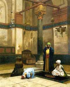 Three Worshippers Praying in a Corner of a Mosque
