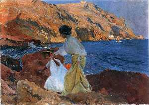 Clotilde and Elena on the Rocks at Javea