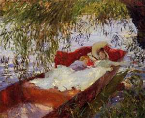Two Women Asleep in a Punt under the Willows