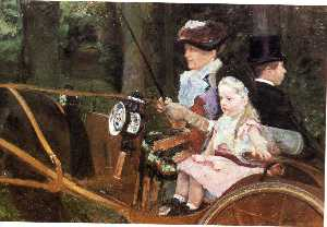 Woman and child driving