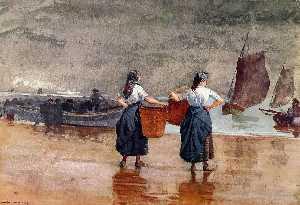 Fishergirls on the Beach, Tynemouth