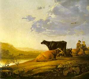 Young Herdsman with Cows