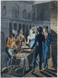 Nightlife in Philadelphia—an Oyster Barrow in front of the Chestnut Street Theater