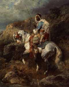 Arabischer Reiter An Einter Tranke