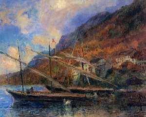 Barcos por el bancos del lago Ginebra a Saint-Gingolph