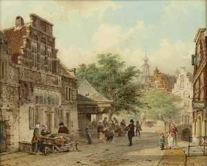 A view in a street, Culemborg, with a blacksmith at work