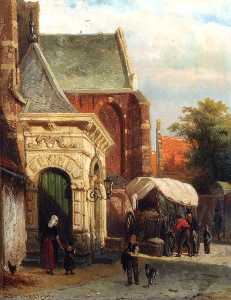 A View Of The South Entrance Of The St. Pancras Church, Enkhuizen