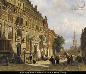 The Town Hall on the Burchtstraat with the St Stevenskerk beyond, Nijmegen