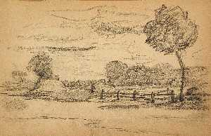 Landscape with Trees and Fence