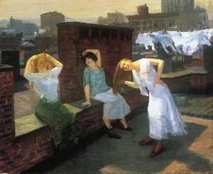 Sunday, Women Drying Their Hair