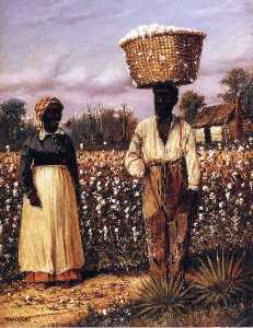 Negro Man And Woman In Cotton Field With Cotton Baskets 1
