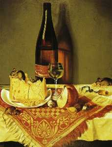 Still LIfe with Cheese, Bottle of Wine and Mouse