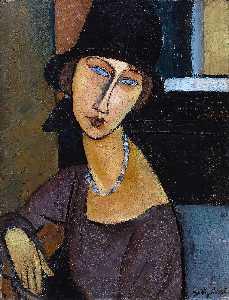Jeanne Hebuterne con sombrero y collar