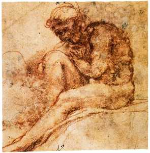 Nude seated in left profile