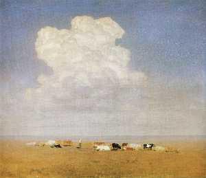 中午。牛群在沙漠中
