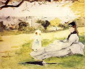 Woman and Child Seated in a Meadow